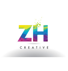 Zh z h colorful letter origami triangles design vector