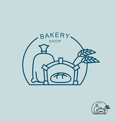 Bakery shop logo Sack of flour and the stove Fresh vector image vector image