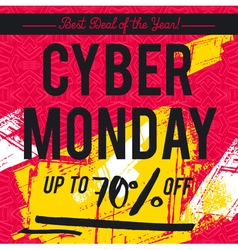 Cyber Monday sale banner on red background vector image