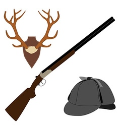 Deer horns rifle and hat vector image