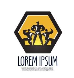 gym logo design template bodybuilder or vector image vector image
