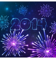 New year fireworks with date greeting card vector image vector image