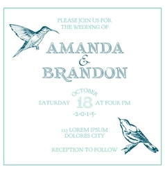 Wedding Vintage Invitation Card - Bird Theme vector image