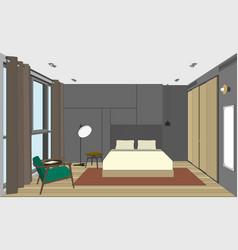 bedroom perspective view vector image