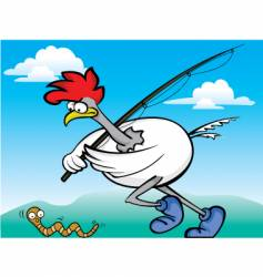 fishing rooster vector image vector image