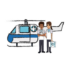 helicopter ambulance icon vector image