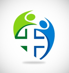 medical people circle logo vector image