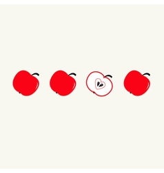 Red apple set in a row Whole and half heart seed vector image vector image