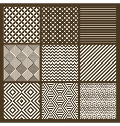 Set of 9 simple seamless monochrome patterns vector image vector image