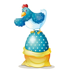 A hen above a big easter egg vector image vector image