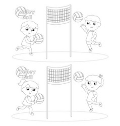 children playing volley ball coloring vector image