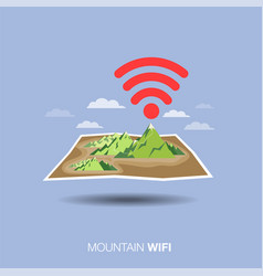 mountain map wifi flat design icon vector image