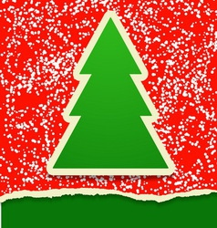 Rip paper card with Christmas tree vector image