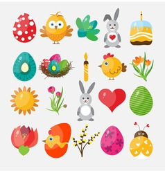 Set Easter flat icons vector image