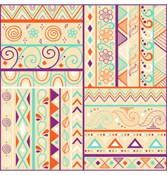 Tribal striped hand drawn seamless pattern vector image