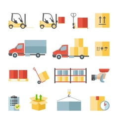 Warehouse transportation and delivery flat icons vector image