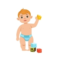 White Toddler Boy In Diaper With Cubes Part Of vector image vector image