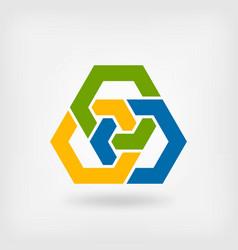 abstract tri-color interlocking hexagons vector image vector image