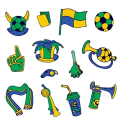Fan Elements Soccer Footall Brazil - hand drawn vector image