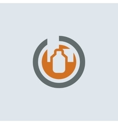 Gray-orange Packaging Round Icon vector image