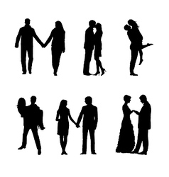 romance and love silhouettes vector image vector image