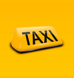 3d realistic yellow french taxi sign vector image