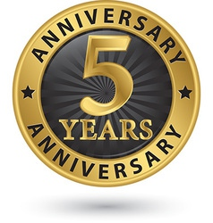 5 years anniversary gold label vector