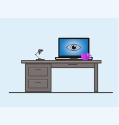 a laptop screen with an eye vector image