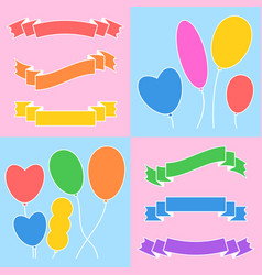 a set of colored ribbons of banners and balloons vector image
