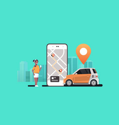 African woman using mobile app ordering automobile vector