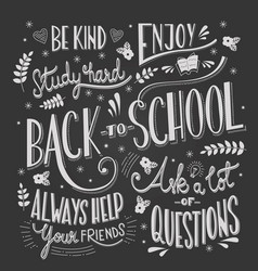 back to school typography drawing on blackboard vector image