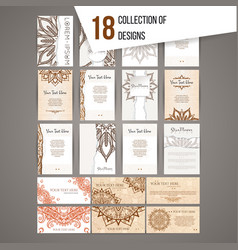 Big card set with henna patterns and mandalas vector