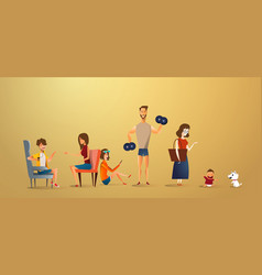 big traditional family concept of vector image