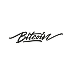 bitcoin hand written lettering text logo isolated vector image