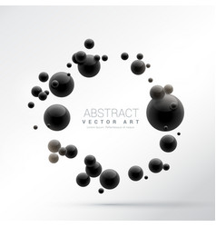 Black 3d spheres frame background vector