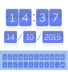 Blue countdown timer and scoreboard numbers vector