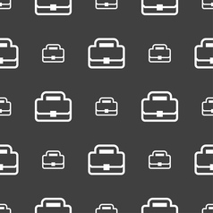 Briefcase icon sign Seamless pattern on a gray vector image