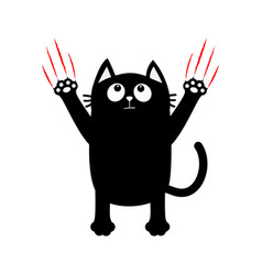 Cartoon black cat red bloody claws animal scratch vector