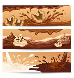 Cartoon liquid chocolate horizontal banners vector