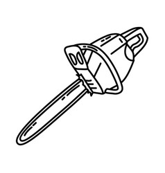 chainsaw icon doodle hand drawn or outline icon vector image