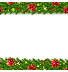 Christmas garlands border isolated white vector