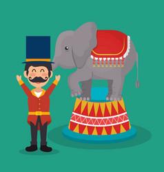 Circus presenter with elephant vector