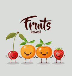 Color background of set fruits kawaii holding vector