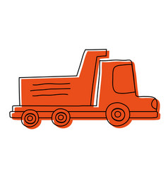 color dump truck industry and contruccion vehicle vector image