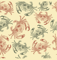 crab sketch seamless pattern vector image