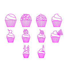 cupcakes icon set vector image