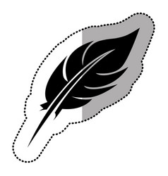 dark contour feather icon stock vector image