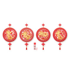 Decorations set with rat for 2020 chinese new year vector