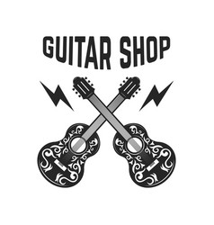 emblem with crossed guitars design elements for vector image