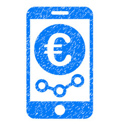 Euro mobile market monitoring grunge icon vector
